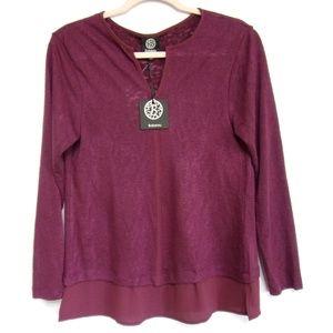 Bobeau Long Sleeve Shirt NWT Size M Purple/Plum